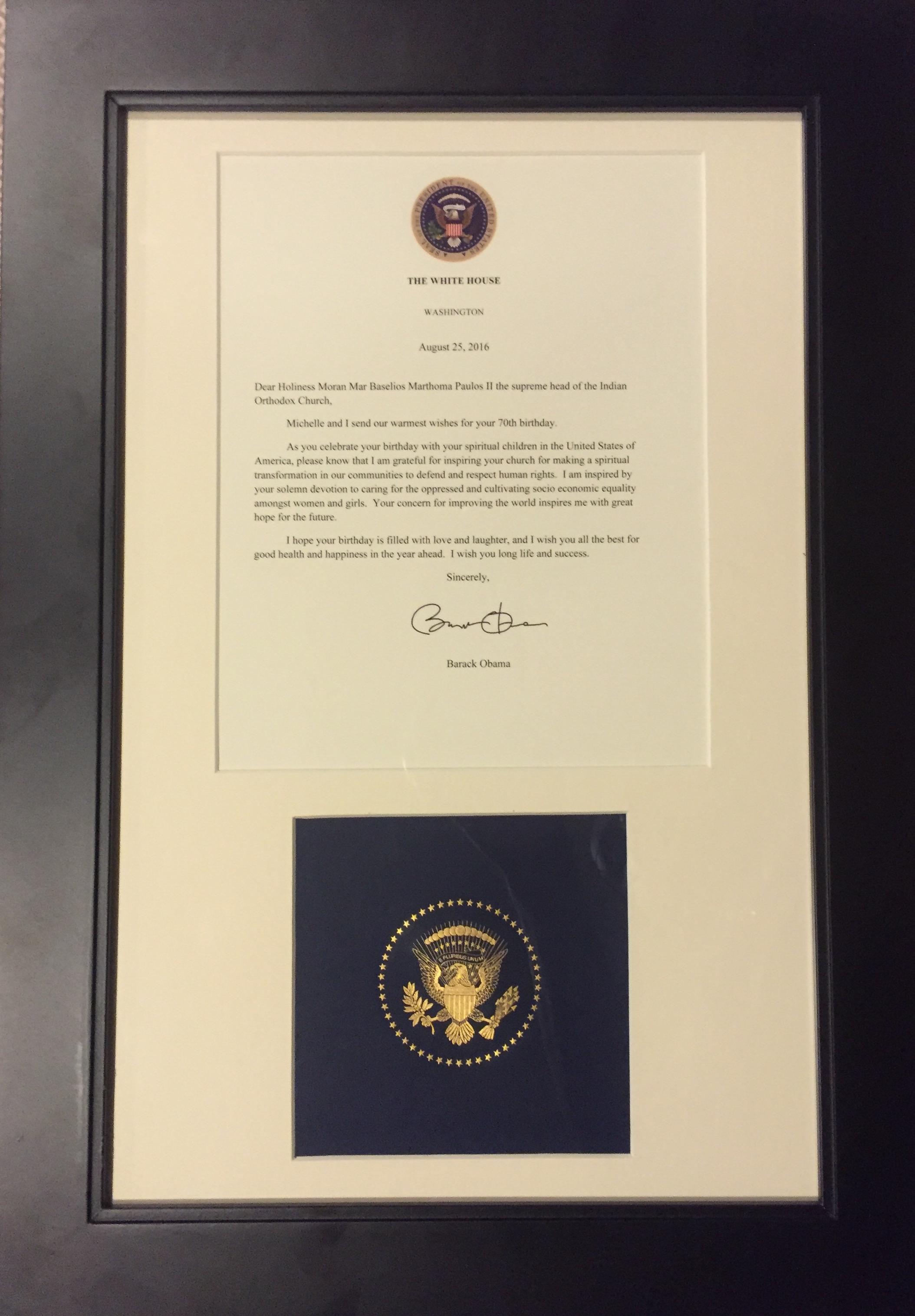President Barak Obama Greets Catholicos Baselios Marthoma Paulos – Birthday Greeting from the President